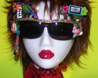 Decorated Sunglasses--- fits over your prescription glasses ---Jimmy Buffett Beach Party Parrothead Concert Fun Gift