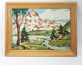Vintage Paint By Numbers Painting, Mountains, Trees, River. Great Retro Nature Scene, Perfect for Cabin, Lodge, Den, or Man Cave. (1 of 2)