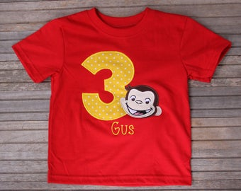Curious George Birthday Shirt, Birthday T-shirt, Curious George, George Embroidered Shirt, Custom Embroidered Shirt