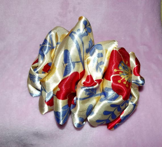 Becky Bows ~OOAK ROSETTE Barrette Hand crafted giant huge Scarf BIG hair bow Women or Girls cream red blue