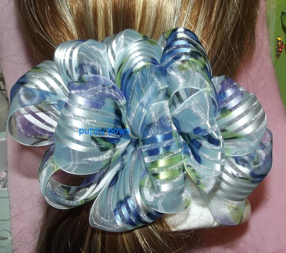 Becky Bows~  Barrette Hand crafted huge ribbon BIG hair bow Women or Girls giant blue chiffon florals