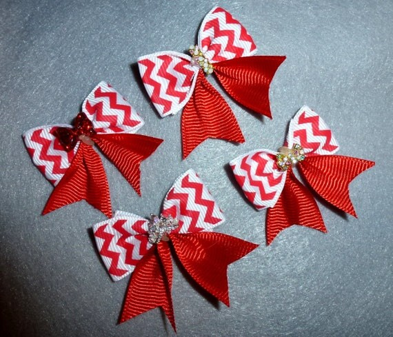 Puppy Bows ~ Fancy red chevron stripe FOUR BOWS with rhinestone centers dog bow bands or barrette clips  (fb85)