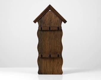 Wood hook rail, kitchen utensils rack, wood house rack, wooden hook rack, 60s kitchen rack
