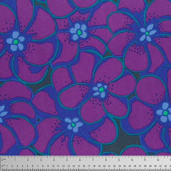 ELEPHANT FLOWER PURPLE Brandon Mably for Kaffe Fassett Collective Sold in 1/2 yd increments