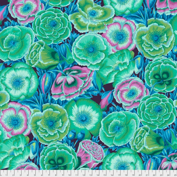 Pre-Order POPPY GARDEN Green Philip Jacobs PWPJ095.GREEN Kaffe Fassett Collective Sold in 1/2 yd increments Pre-Order Item