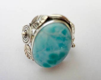 ENDLESS SUMMER SALE Stunning Genuine Aaa Grade Larimar Ring .925 Sterling Silver  Free U.S. Shipping  U.S. Size 8 1/2