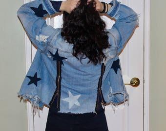 Denim Jacket with Zip-Up Back and Denim Stars