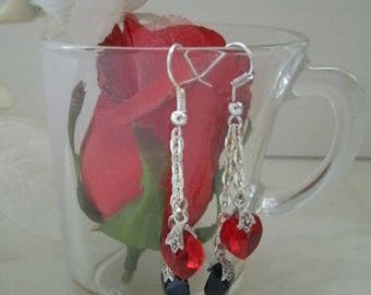 earrings with Crystal hearts