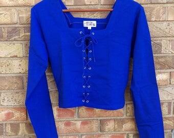 Vintage Lace Up Crop Top - Electric Blue Cotton Lycra - Size L - New and Unworn