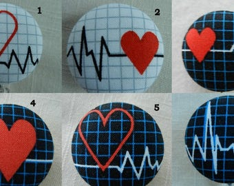 Medical ~ECG~EKG~Heart~ Fabric Retractable Badge Holder Reel, ID Name Holder,Security tag holderl