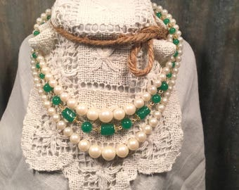 Vintage Multi-Strand Green Bead and Pearl Beaded Necklace