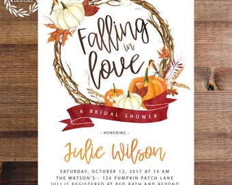 Fall Bridal Shower Invitation | Autumn | Fall Leaves | Pumpkins | Falling in Love Invites | Wedding Shower | Downloadable or Printed | DIY