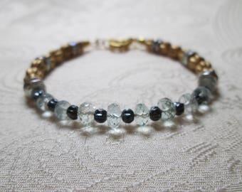 Aquamarine bracelet, free gift wrap, March birthstone, genuine gemstone, gift for her, elegant bracelet, blue gemstone