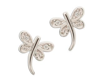 Sterling Silver Crystal Dragonfly Earrings for Girls (SSE-Dragonfly CZ)