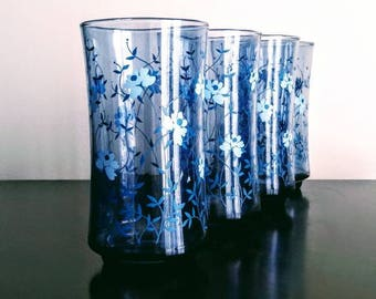 Vintage Libbey Blue Floral Tumbler Mid Century Drinkware Glasses FREE SHIPPING