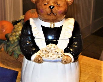 Peggy Jo Ackley Certified International Corp. Cookie Jar, Maid Bear Cookie Jar, Bear Cookie Jar