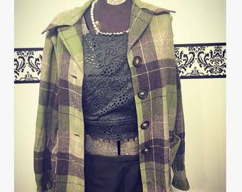 1950's Green Wool Pendleton 49'ers Button Blazer, Size Large, Vintage Grunge Pendleton Woolen Mills Blazer, 50's Pendleton Women's Hipster
