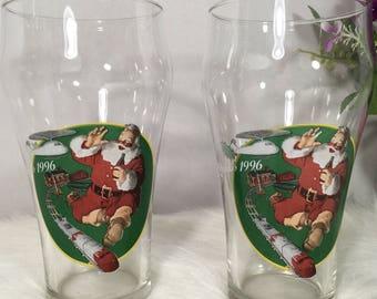 Vintage Coca Cola Christmas 16oz Glasses