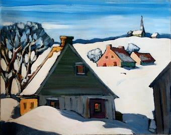 Tableau G Boka George Y Boka born 1939 - Canadian artwork 16 X 20 on canvas winter scene from the Quebec artist signed bottom left