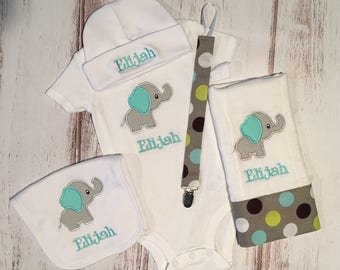 Personalized Baby Elephant Gift Set - Onesie, Burp Cloth and Bib