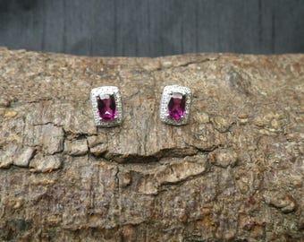 Sparkling 9ct White Gold Diamond and Garnet Stud Earrings