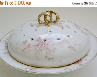 GDA Limoges France Pancake Server Pink Roses Flowers Crepe Warmer Serving Dish w Ribbon Handle