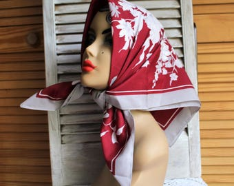 Vintage. Burgundy/grey/white/floral/square/silky/sheer/scarf. Lovely scarf!