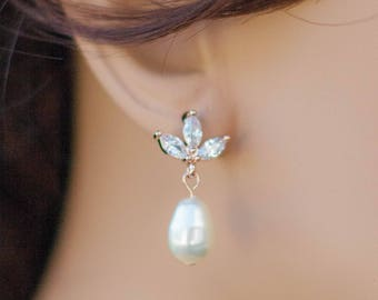 Rose gold flower pearl earrings - teardrop pearl bridesmaid earrings - rose gold flower earrings - rose gold pearl drop earrings - rose gold