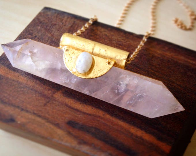 Rose Quartz Wand with Rainbow Moonstons and Gold Leaf, Rose Quartz Statement Necklace, Crystal Statement Necklace