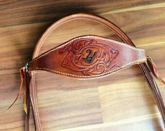 Custom Designed Leather Horse Bridle and breastcollar/ hand tooled /Headstall/ brand/Draft Tack/Halter/ show/ sheridan floral/