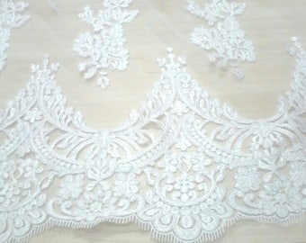 lace fabric for whipped cream white color embroidered wedding dress