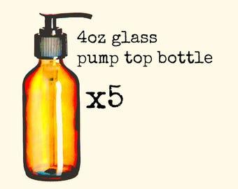 Five Glass Pump Bottles 4oz   Boston Round Bottle and Hand Pump   Lotion Bottles   Pump Top Bottle   Glass Bottles   Oil Bottle