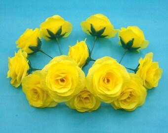 14 Pcs Silk Flower Heads,Yellow Silk Rose Heads,Green Artificial Flower Roses with Short Stem,DIY Wedding Reception Table Cake Topper decor