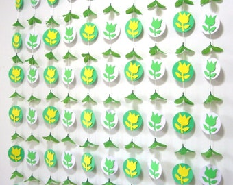 Flower Garland Backdrop,Wedding Backdrop Curtain,Baby Shower,Nursery decor,Hanging Floral Rose Banner,Photobooth,Paper,Photo,Yellow,Green