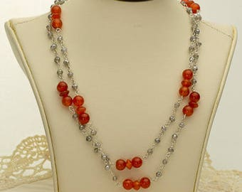 Red Orange Carnelian Necklace 60ct (B93)