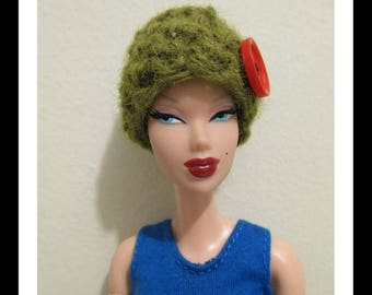 Crochet Green With Red Button Winter Hat   for barbie doll winter accessory