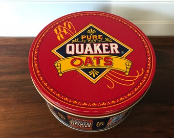 Vintage Quaker Oats Tin, The Quaker Oats Company 1983, Limited Edition Commemorative Canister, Vintage 1980s Kitchen Prop, Storage Container