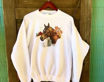Vintage 80's White Horse Graphic Sweatshirt/Jumper Size Large