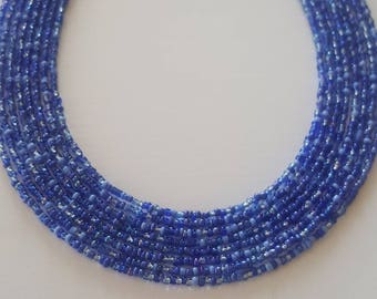 Delicate shades of blue seed bead necklace - shades of blue seed bead necklace - blue seed bead necklace - blue necklace - sapphire multi