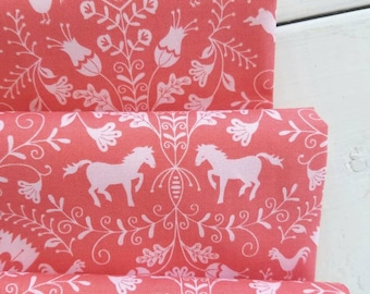 HIll and Dale - Thistle(Coral) - Ana Davis - Blend Fabrics