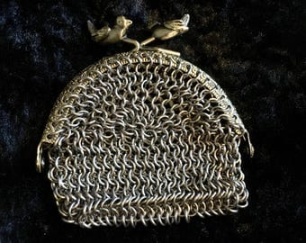 Chainmaille Coin Purse - Chainmail Purse - Chain Mail Pouch with Bird Clasp