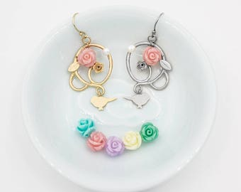 Vine Earrings, Floral Earrings with Birds and Vine, 14K Fold Filled or Sterling Silver Ear Wire