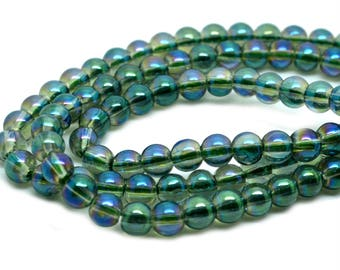50 beads round 4mm glass Emerald AB