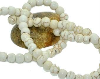30 6 m veined white howlite beads