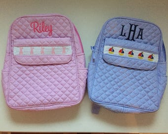 Monogrammed Gingham Smocked Diaper Bag/Tote Bag- Bunnies or Sailboats
