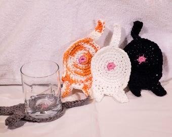 Set of 4 Cotton Novelty Cat Butt Mug Glass Coasters