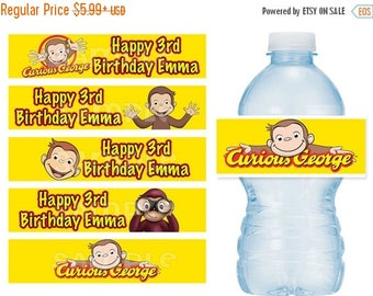 ON SALE Curious George Water Bottle Labels Water Resistant - Vinyl Stickers BOLD colors
