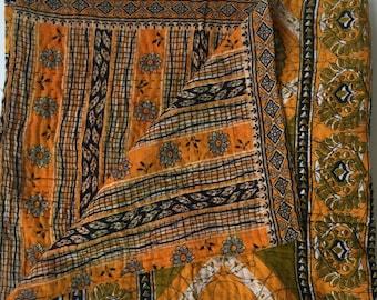 Vintage Kantha Quilt Orange Black Throw