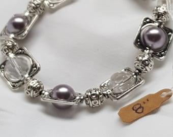 Silver Beaded Crystal Bracelet