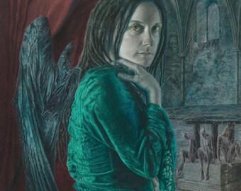 Gothic Winged Figure Fine Art Giclee Print